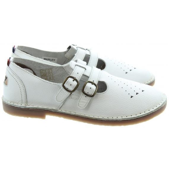 POD Ladies Marley T-Bar Shoes In White