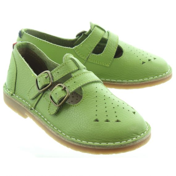 POD Marley Kids Bar Shoes In Sage Green