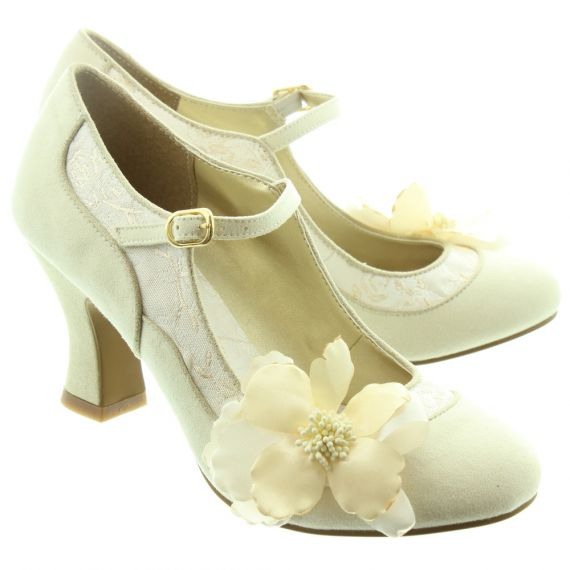 RUBY SHOO Ladies Madelaine Flower Bar Shoes In Cream
