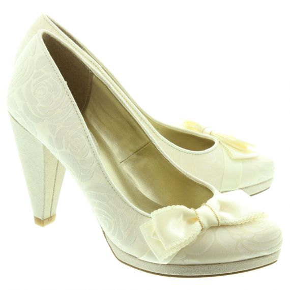RUBY SHOO Ladies Susanna Bow Court Shoes In Cream