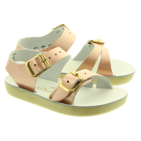 SALT WATER Kids Seawee Sandals In Rose Gold