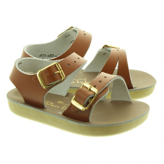 SALT WATER Kids Seawee Sandals In Tan