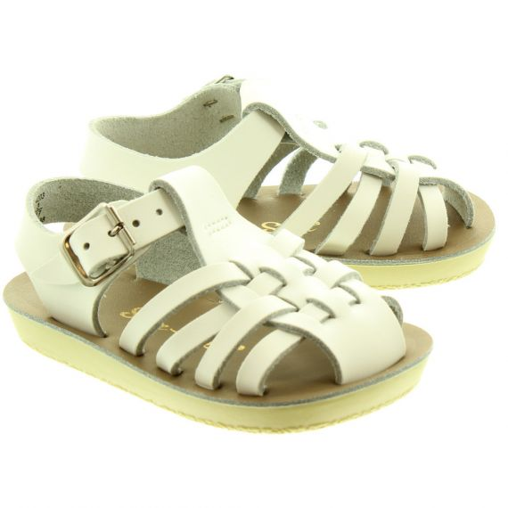 SALT WATER Sailor Baby Sandals In White
