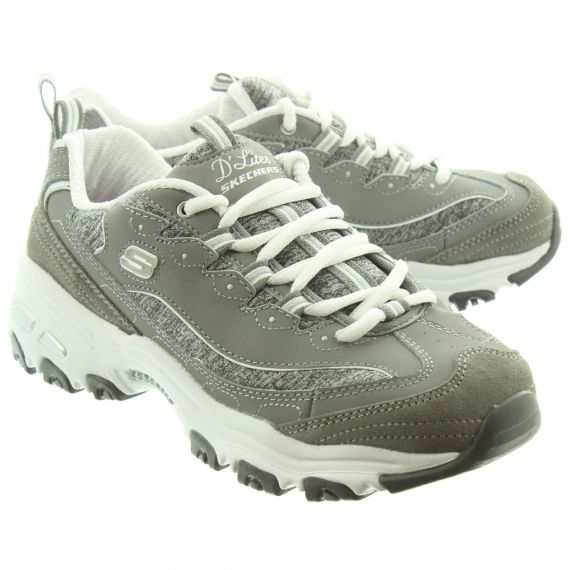 SKECHERS Ladies 11936 D'Lites Shoes In Grey and White