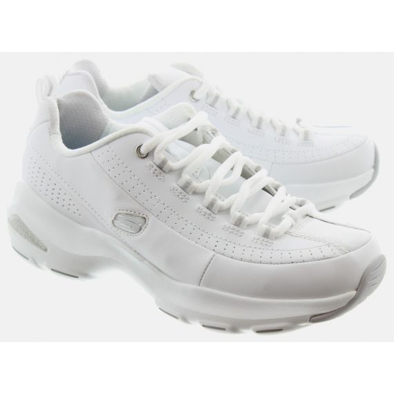 SKECHERS Ladies 12289 D'Lites Trainers In White And Silver