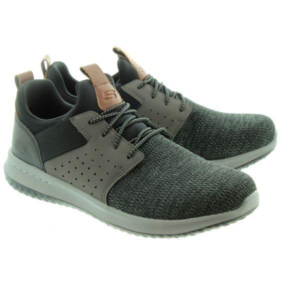 SKECHERS Mens 65474 Lace Trainers In Black And Grey
