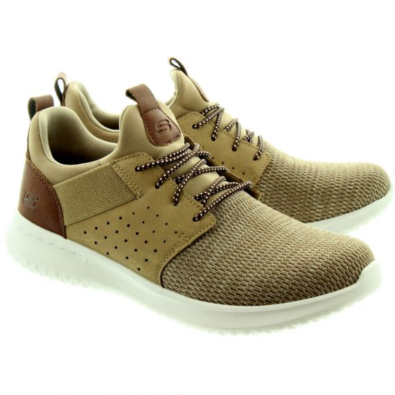 SKECHERS Mens 65474 Lace Trainers In Light Brown