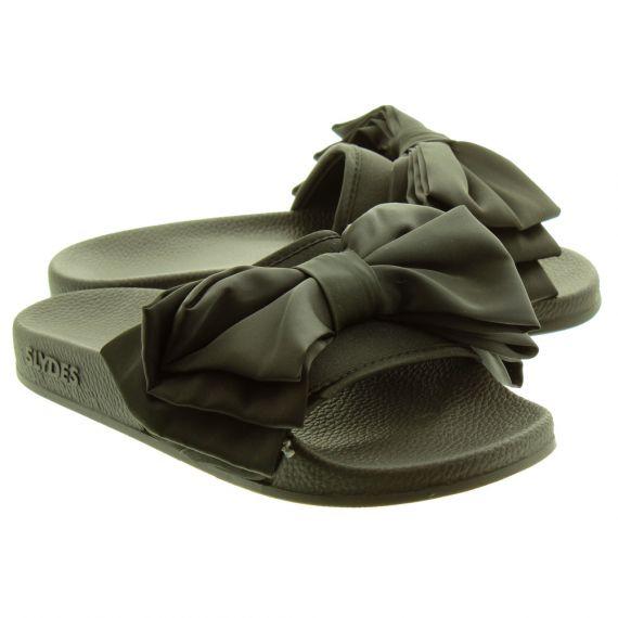 SLYDES Ladies Peep Bow Slydes In Black