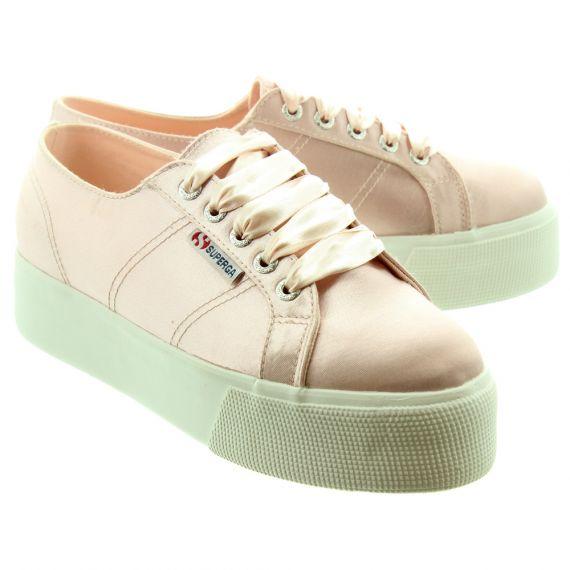 SUPERGA Ladies 2790 Satin Flatform Shoes In Rose Pink
