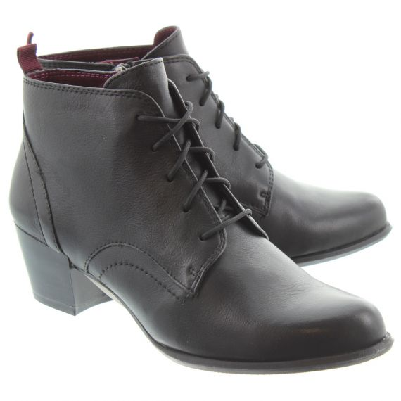 TAMARIS Ladies 25115 Lace Ankle Boots In Black