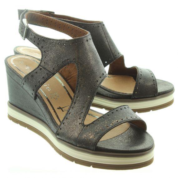 TAMARIS Ladies 28031 Wedge Sandals In Brown