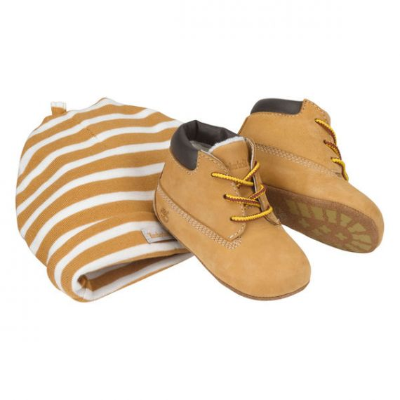 TIMBERLAND 9589R Baby Crib Boots & Cap in Wheat
