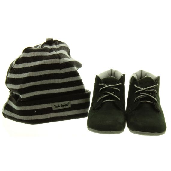 TIMBERLAND A19Z1 Baby Crib Boots And Cap Set In Black