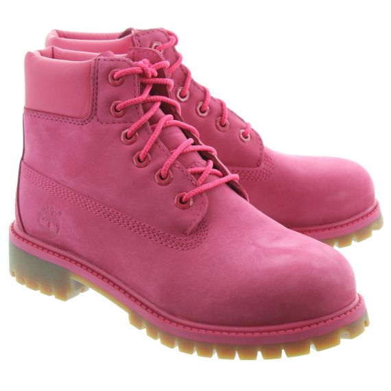 TIMBERLAND Kids Authentic 6 Inch Lace Boots In Rose Pink