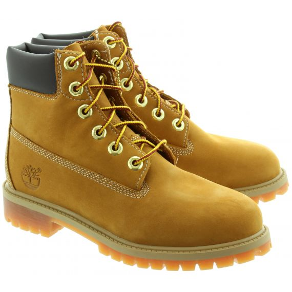 TIMBERLAND Kids Authentic 6 Inch Lace Boots In Wheat