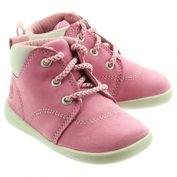 TIMBERLAND Kids Tree Sprout Lace Boots In Pink