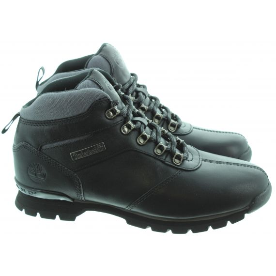 TIMBERLAND Leather Splitrock2 Hiker Lace Ankle Boots In All Black