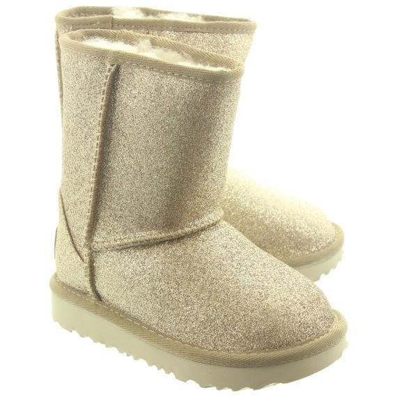 UGG Kid Classic Short 2 Glitter Boots In Gold