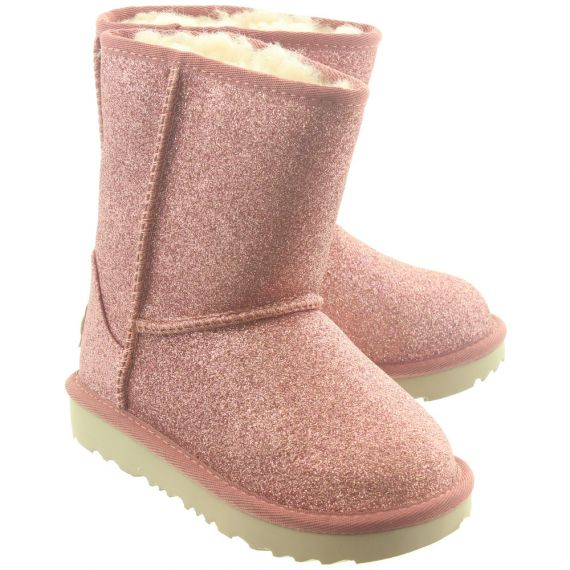 UGG Kid Classic Short 2 Glitter Boots In Pink