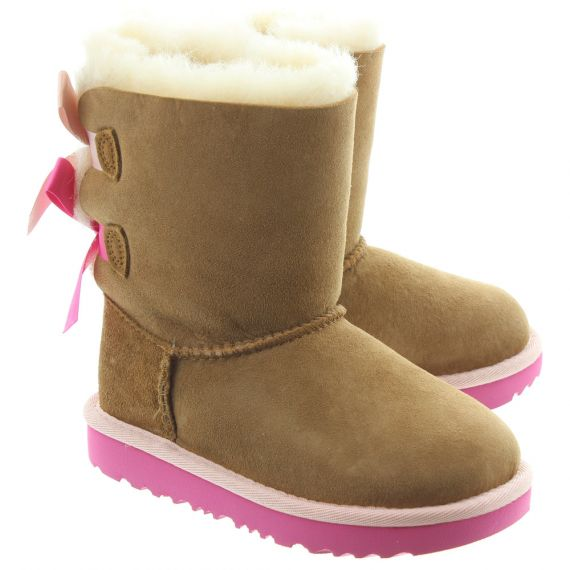 UGG Kids Bailey Bow 2 Boots In Chestnut And Pink