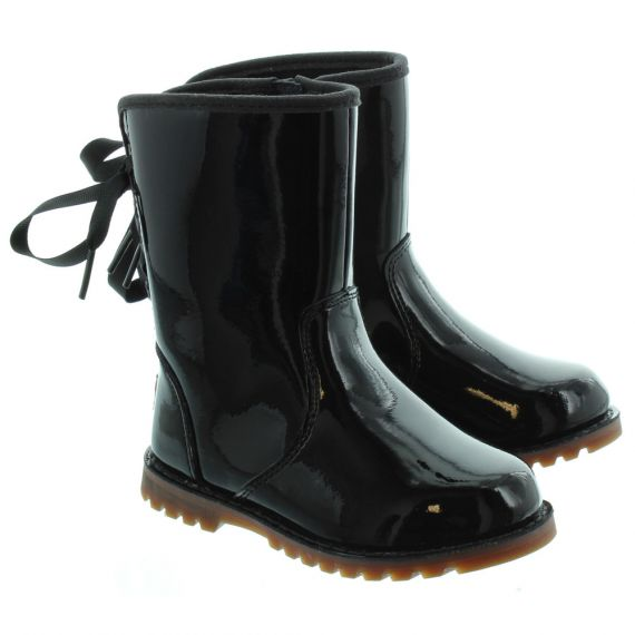 UGG Kids Corene Bow Calf Boots in Black Patent