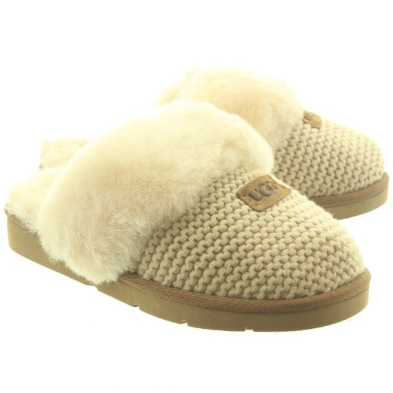 UGG Ladies Cosy Knit Slippers In Cream