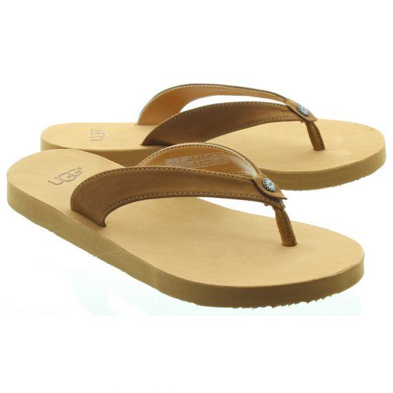UGG Ladies Tawney Toe Post Sandals In Chestnut