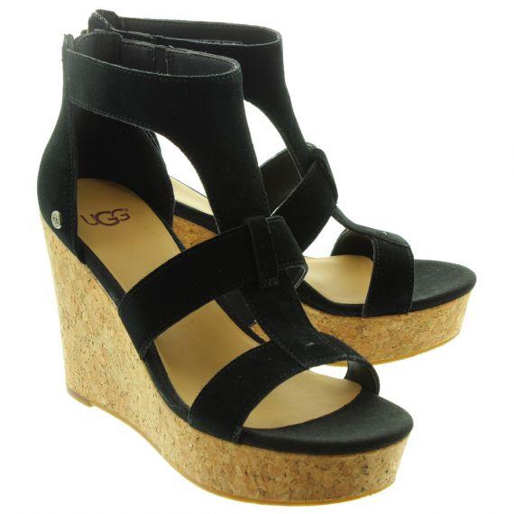 UGG Ladies Whitney Wedge Sandals In Black