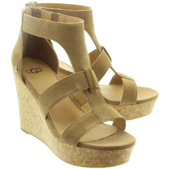 UGG Ladies Whitney Wedge Sandals In Chestnut