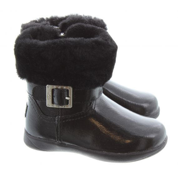 UGG Toddlers Gemma Buckle Boots in Black Patent