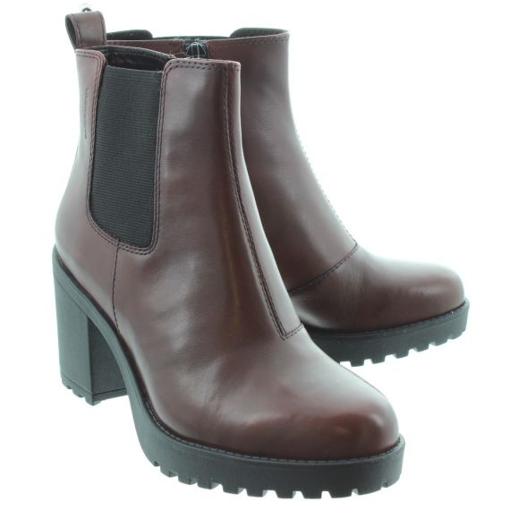 VAGABOND Ladies 42281 Grace Heeled Ankle Boots In Burgundy
