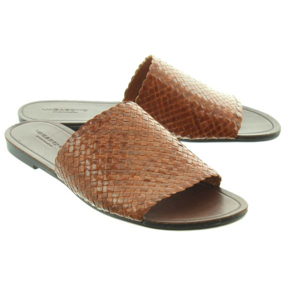 VAGABOND Ladies 45311 Weave Mules In Tan