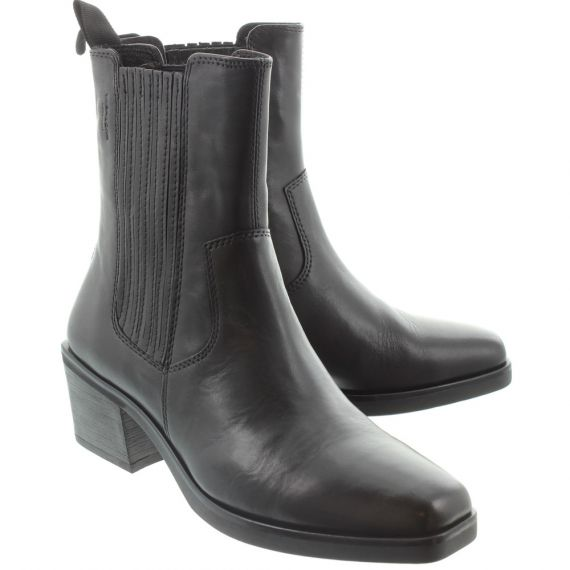 VAGABOND Ladies 4610 Western Ankle Boots In All Black