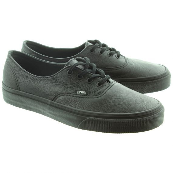 VANS Authentic Leather Lace Shoes in All Black