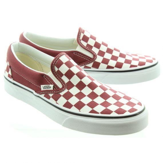 VANS Checkerboard Slip On Shoes In Burgundy