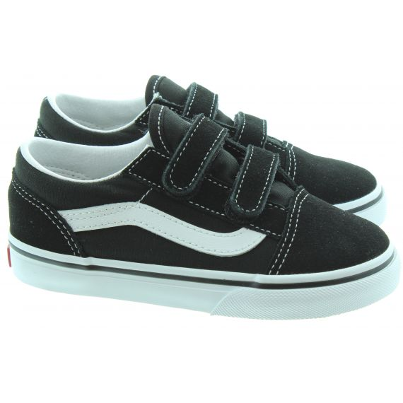 VANS Kids Old Skool Velcro In Black/White