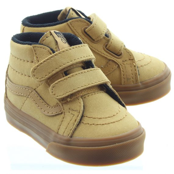 VANS Kids SK8-Mid Velcro Boots In Natural