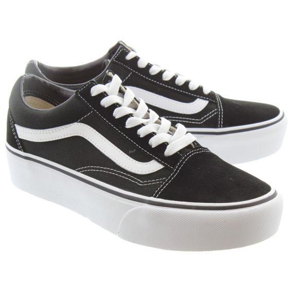 VANS Ladies Old Skool Platform Shoes In Black