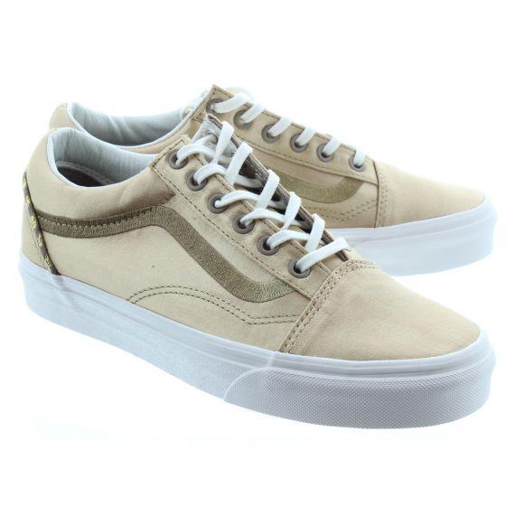 VANS Ladies Old Skool Satin Shoes In Beige