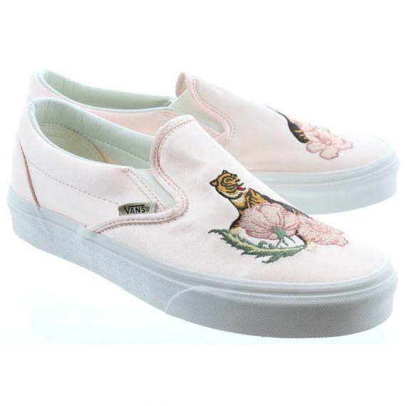 VANS Ladies Slip On Satin Shoes In Pink