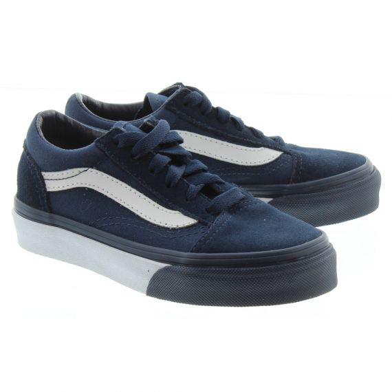 VANS Old Skool Kids Shoes In Navy and White