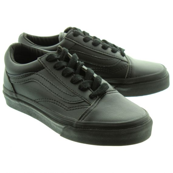 VANS Kids PU Old Skool Lace Shoes In All Black