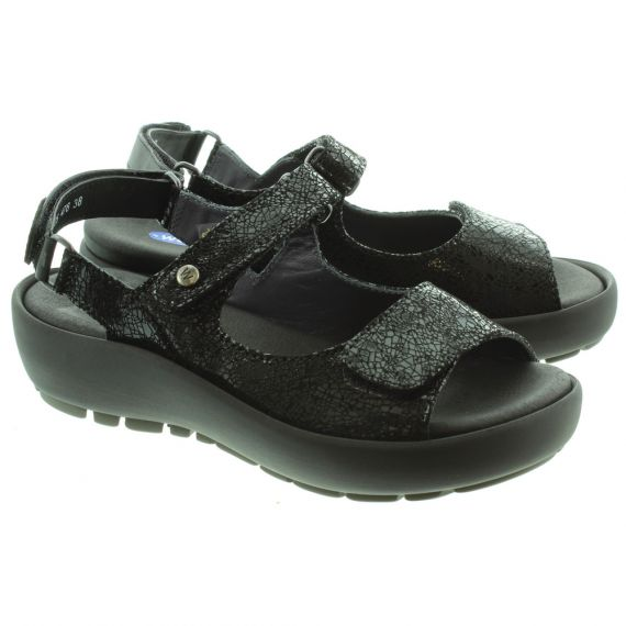 WOLKY 3325 Rio Velcro Sandals in Black Crocodile Print