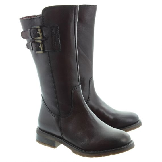 XTI Kids 55196 Leather Knee Boots In Burgundy