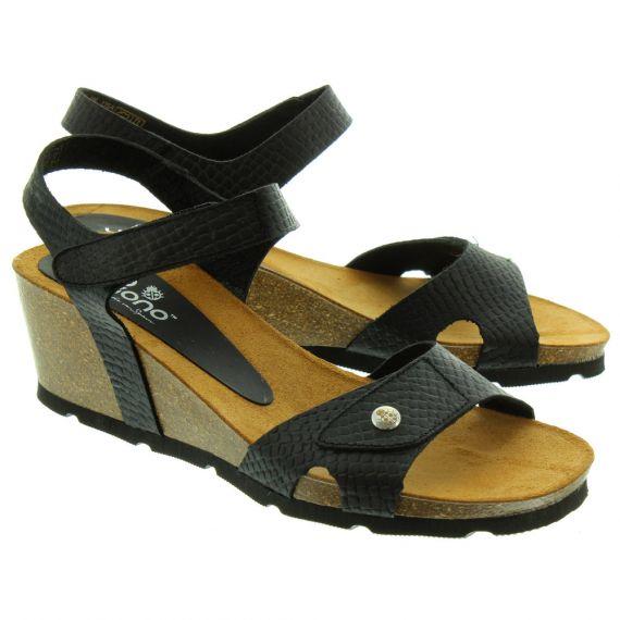 YOKONO Ladies Cadiz073 Wedge Sandals In Black