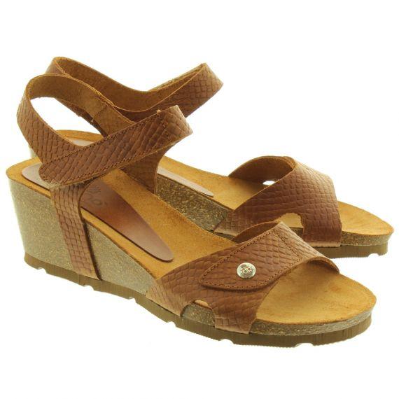 YOKONO Ladies Cadiz073 Wedge Sandals In Brown