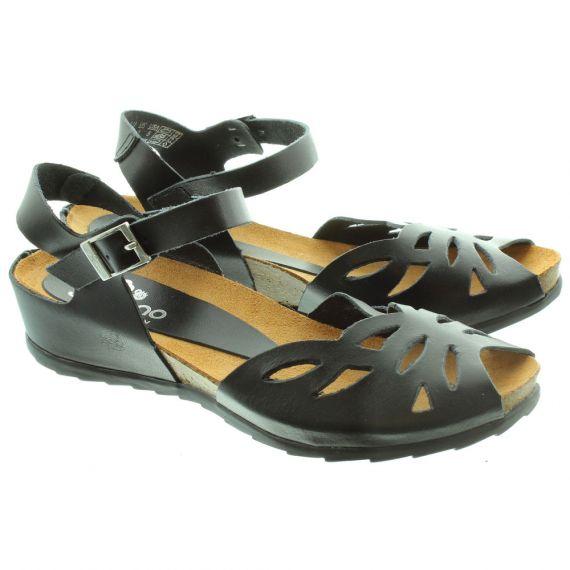 YOKONO Ladies Capri 023 Flat Sandals In Black