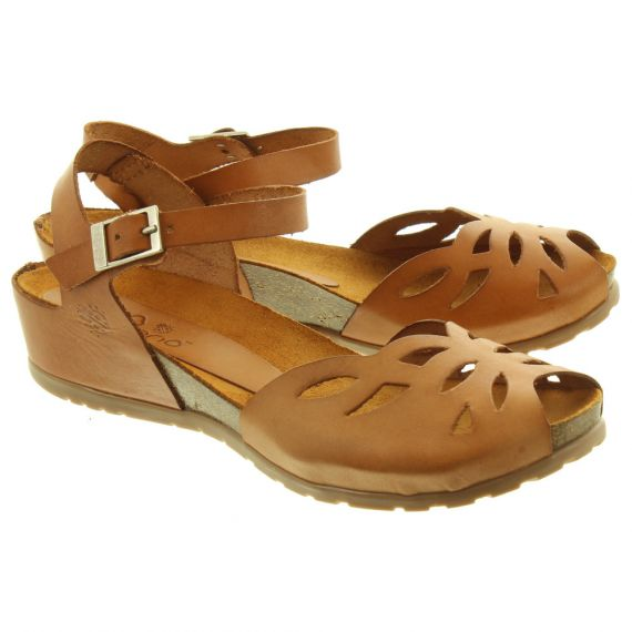 YOKONO Ladies Capri 023 Flat Sandals In Tan