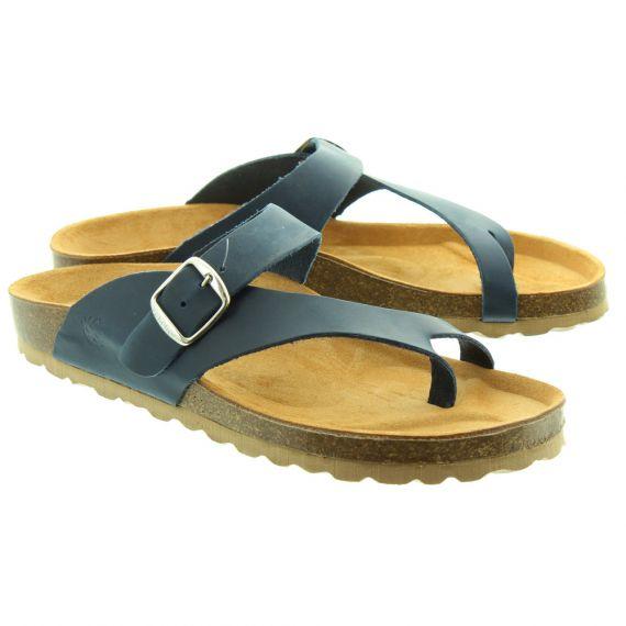 YOKONO Ladies Mabul013 Toe Loop Sandals In Navy