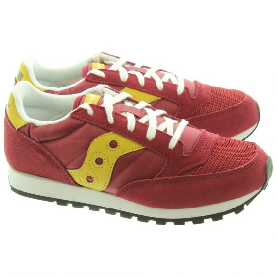 SAUCONY Jazz Kids Lace Trainers In Burgundy
